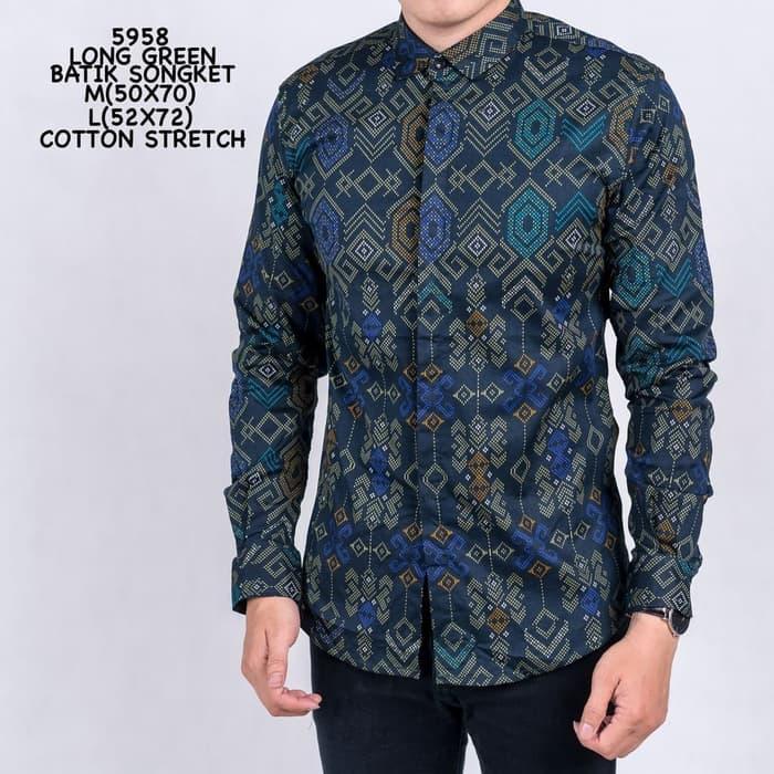 Kemeja Batik Biru Lengan Panjang Pria - Tosca size M d1e1e1bf0e
