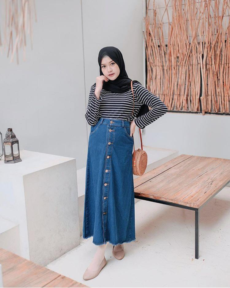 Button SKIRT JEANS rok denim payung kancing muslim PREMIUM IMPORT