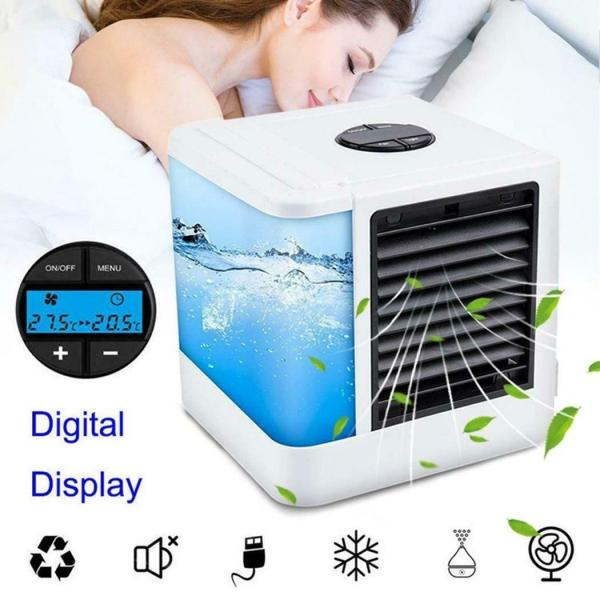 Jiuch 7 Color Lights Mini Air Conditioner Device Fans USB Mute Portable Air Cooler Humidifiers Table Fan Quick & Easy Way to Cool Any Space Air Conditioner Fan Device For Home Office Refrigerating