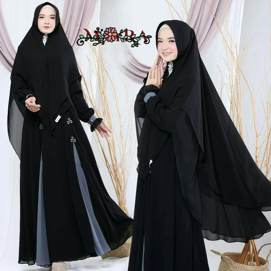 Priskila Cell Azhari Syari Wolfice (Free Hijab / Khimar ) Gamis Trendy  Modern Wanita Baju Panjang Stelan Syar'i Polos Muslim Gaun Dress Pesta  Murah
