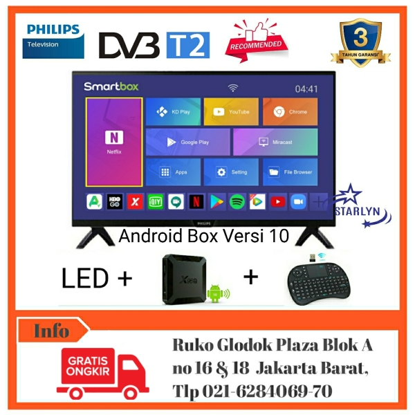 PHILIPS Led Digital Tv 32Inch Smart Android Box RAM2GB - 32PHT4002/70 [Bebas Ongkir]
