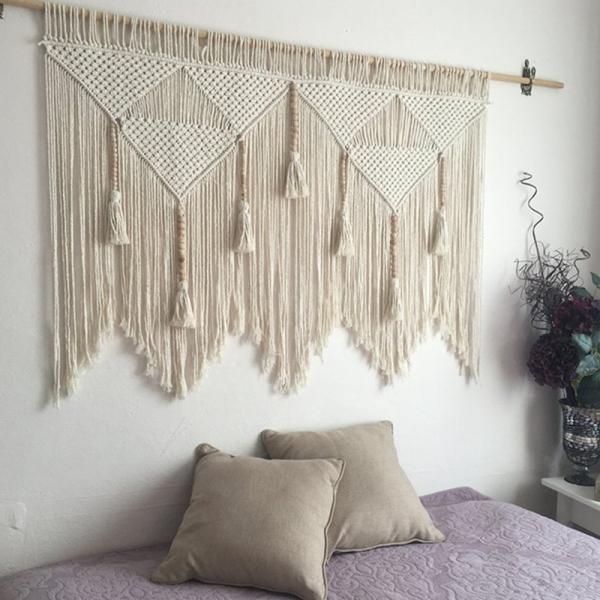 Macrame Wall Hanging Handwoven Bohemian Cotton Rope Boho Tapestry Home Decor Creamy-White