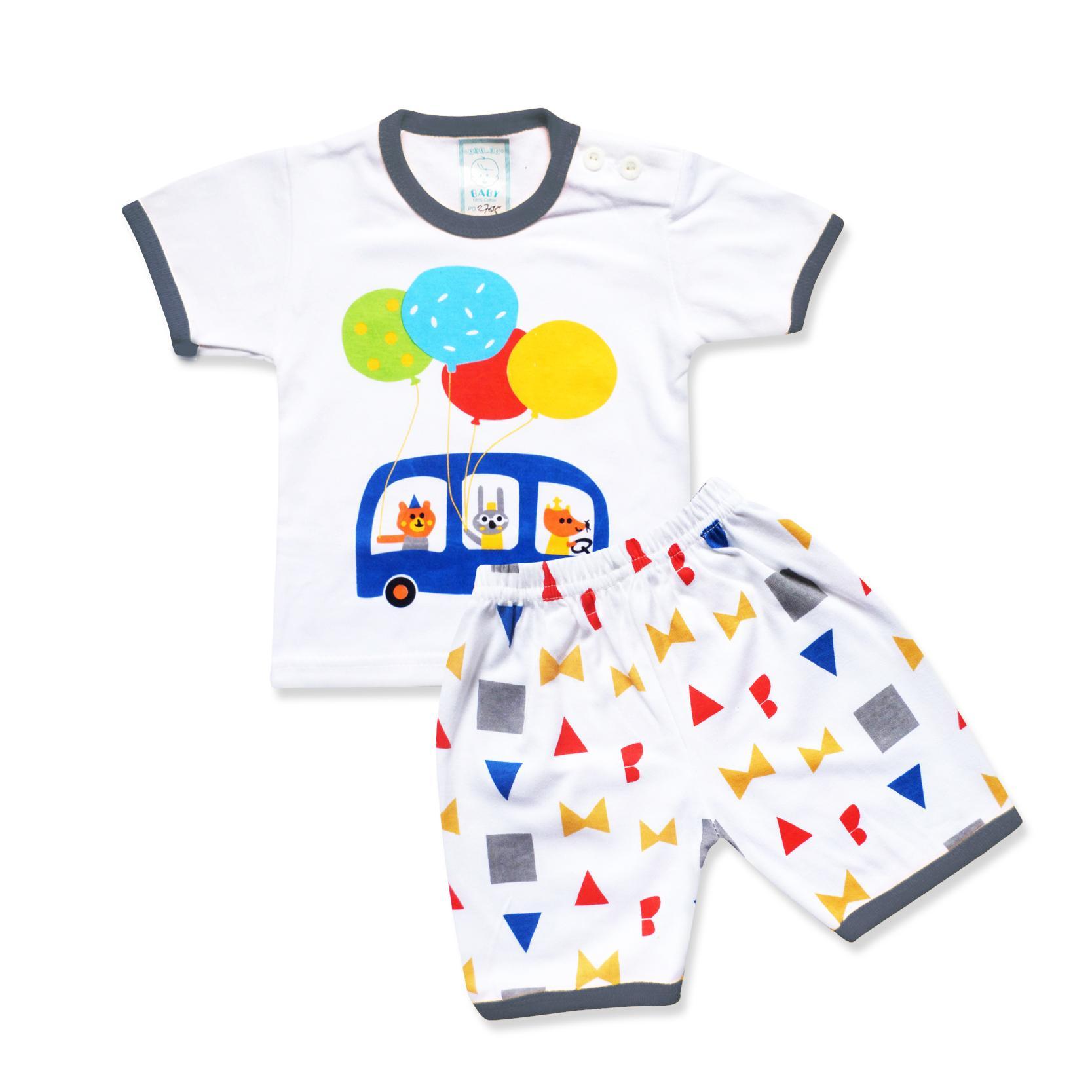 Skabe Baby Putih Baju Tangan Pendek Anak Bayi Laki Laki Setelan Kaos Celana Full Print 2785 Everyday By Waka Kids.
