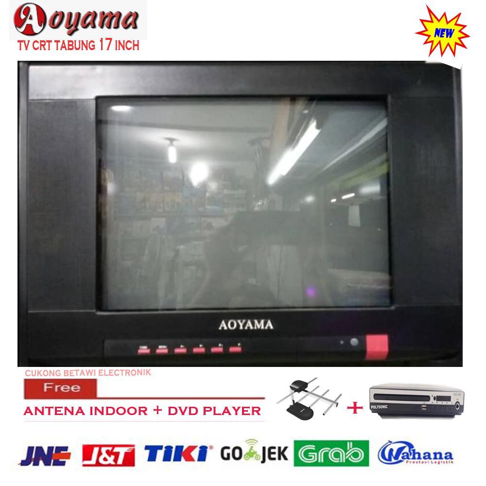 AOYAMA CRT TV TABUNG BERWARNA 17 Free Antena Indoor DVD Player-KHUSUS JABODETABEK