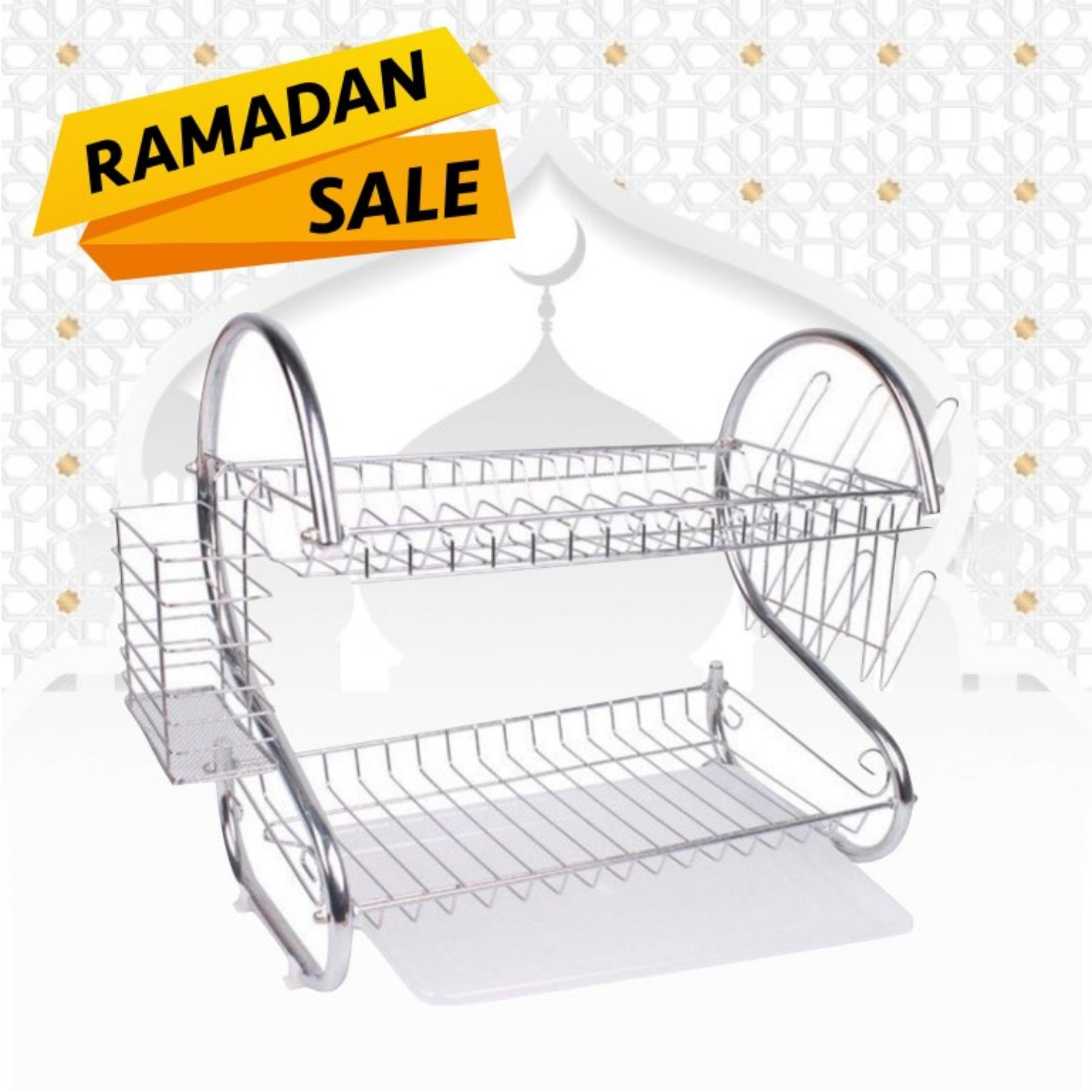 Ezy (cuci Gudang) Rak Piring 2-Tier Dish Drainer Stainless Steel By Ezy Living.