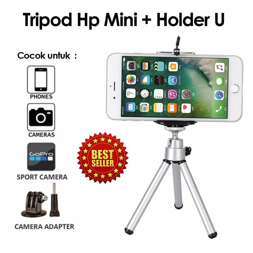 Tripod MIni Kamera + Holder U Hp Handphone Tripod Stand with Phone Clip Bracket Holder Mount