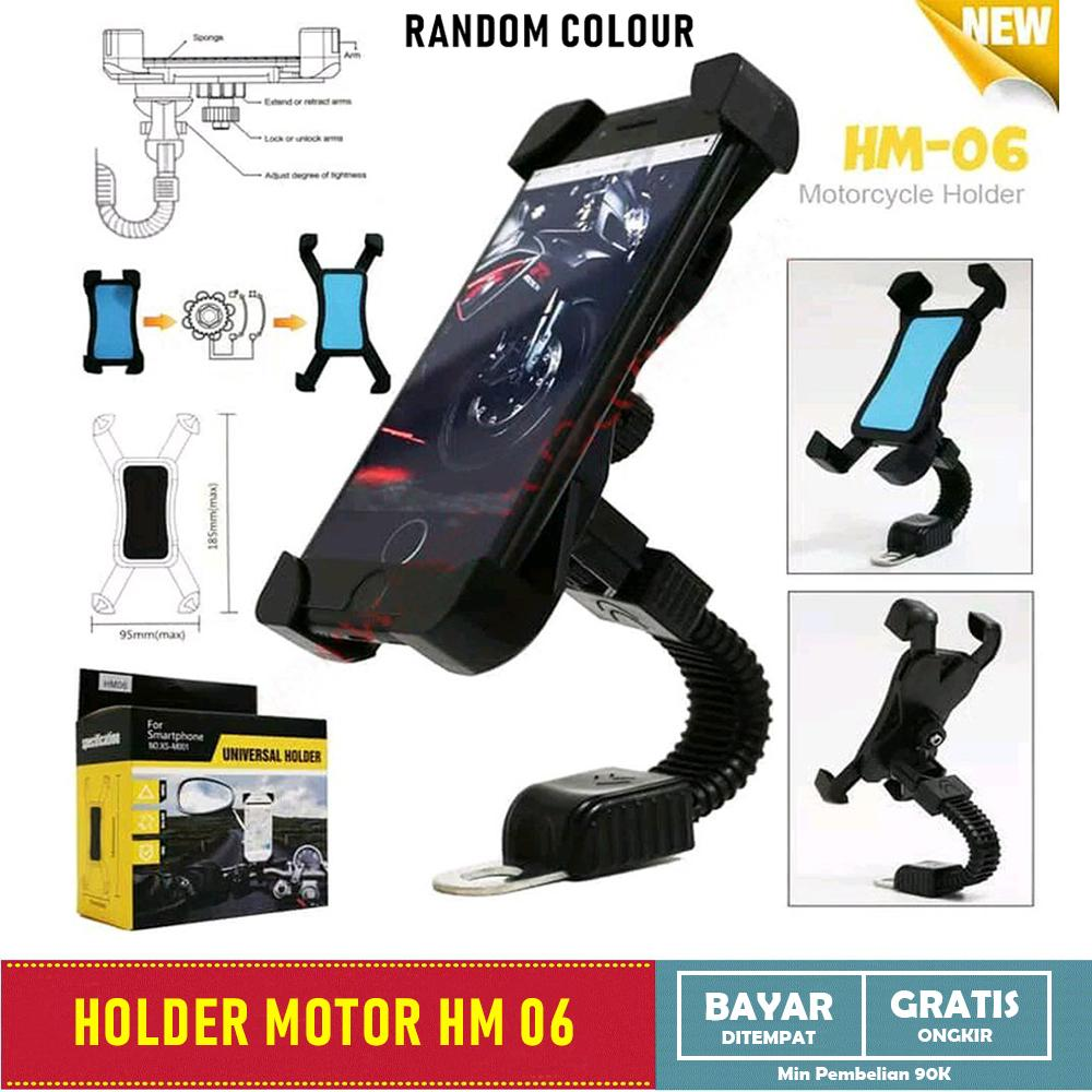 Holder Motor Kaca Spion HM06 - Dudukan Hp Kaca Spion 360 Degree Rotation