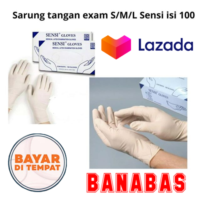 HAND GLOVES-SARUNG TANGAN KARET SENSI ISI 100PCS/BANABAS
