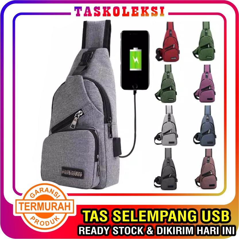 TK - TAS SELEMPANG USB PRIA SLING BAG USB MURAH IMPORT Batam Slempang Dada  KEREN kabel 0c9c70646d