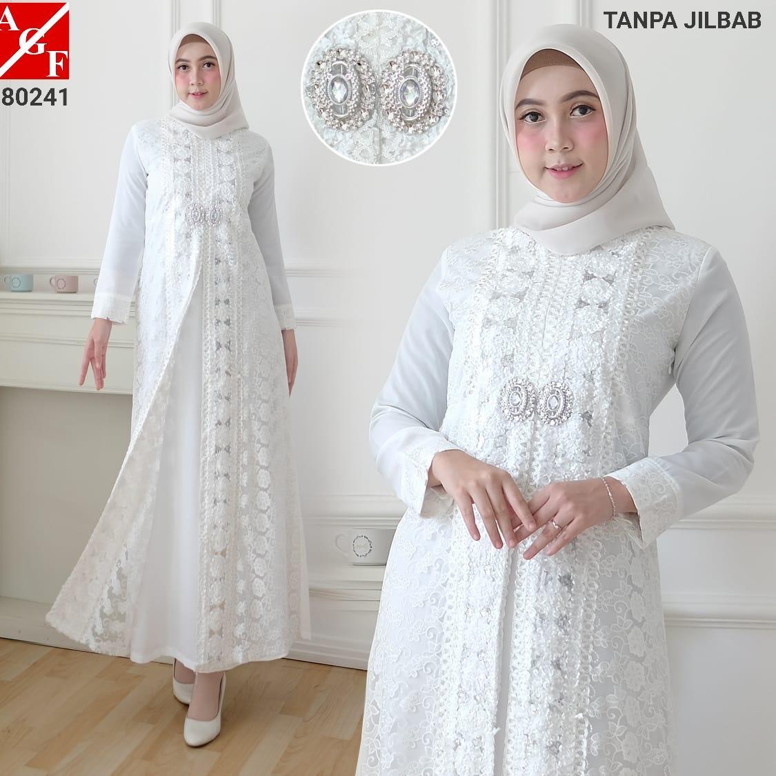 SALE!! AGNES Baju Gamis Wanita Brukat / Gamis Putih Lebaran Umroh Haji / Busana Muslim Wanita / Baju Muslim Wanita / Gamis Pesta #80241