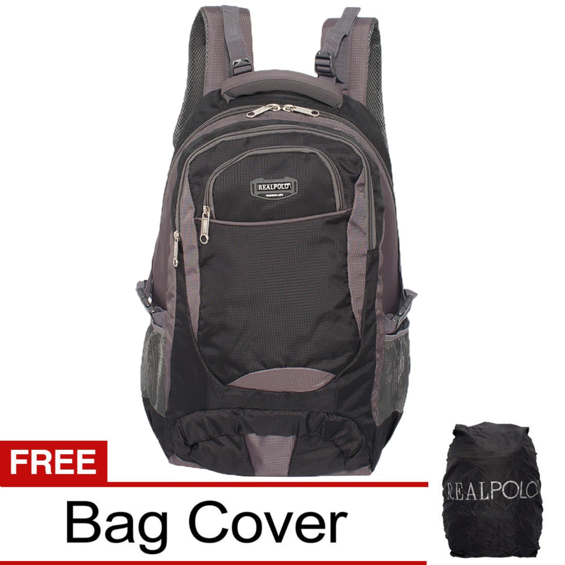 Real Polo Tas Ransel Kasual Tas Punggung Jumbo HCBH Backpack XL Bonus Bag Cover - Hitam