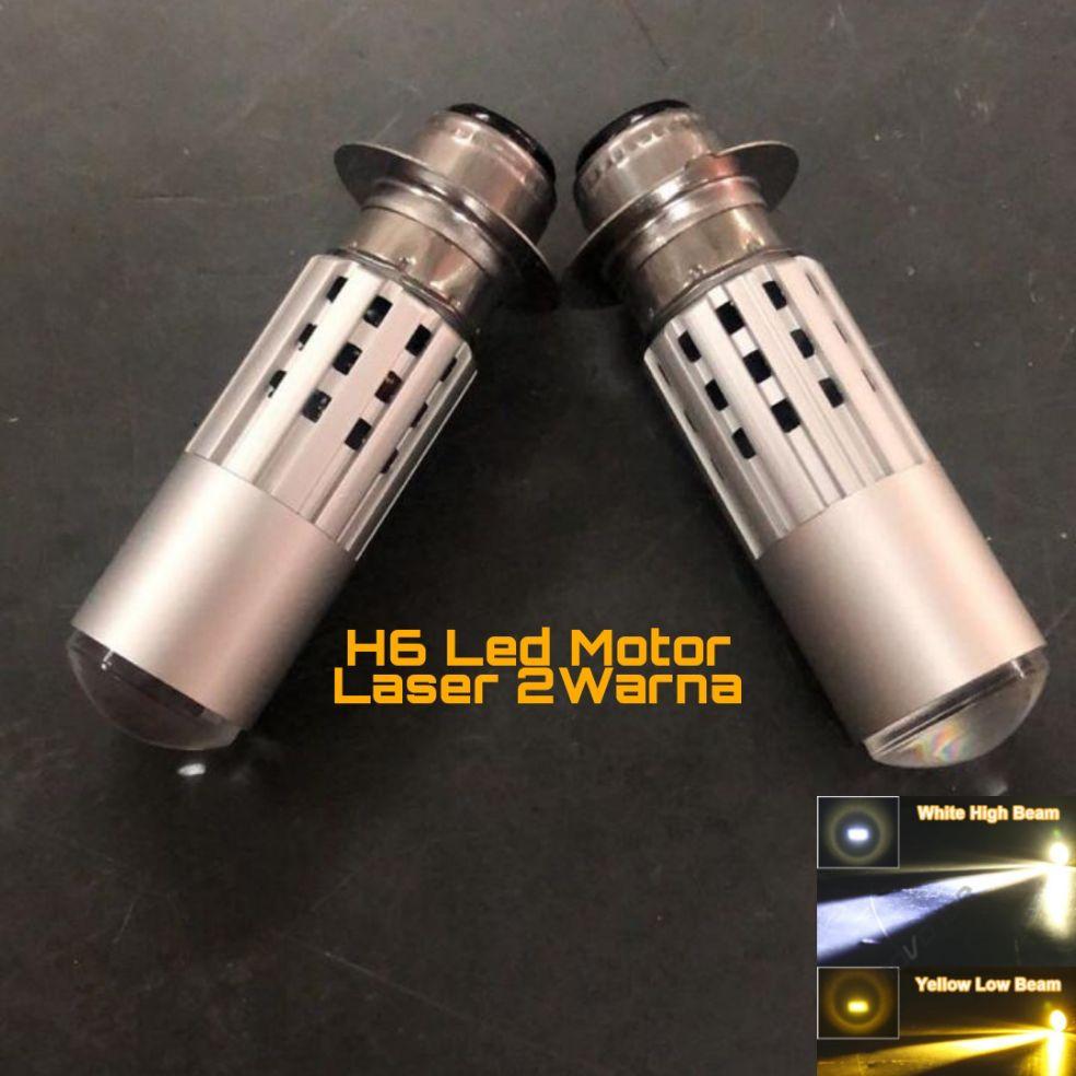 Lampu Led Motor H6 Laser 2Warna Hi Low PNP