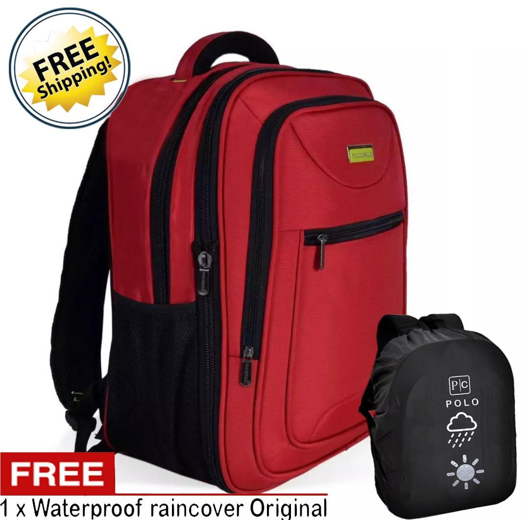 Siltop Polo Cavallo impor Tas Ransel pria dan wanita tas kerja tas kuliah tas backpack Rz03377-18 Polyester Nylon Original Red- Raincover-Ekspanding