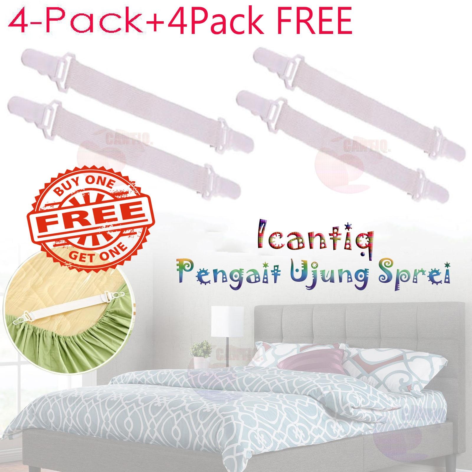 Icantiq Penjepit Sprei [BY1 GET1 FREE] Pengait Ujung Sprei / Jepitan Ujung Sprei / Karet Penjepit Ujung Sprei Elastic Cover Blankets Grippers Holder Bed Sheet Clip Mattress Fasteners Fixing Slip-Resistant Belt Clip Home Living - Putih