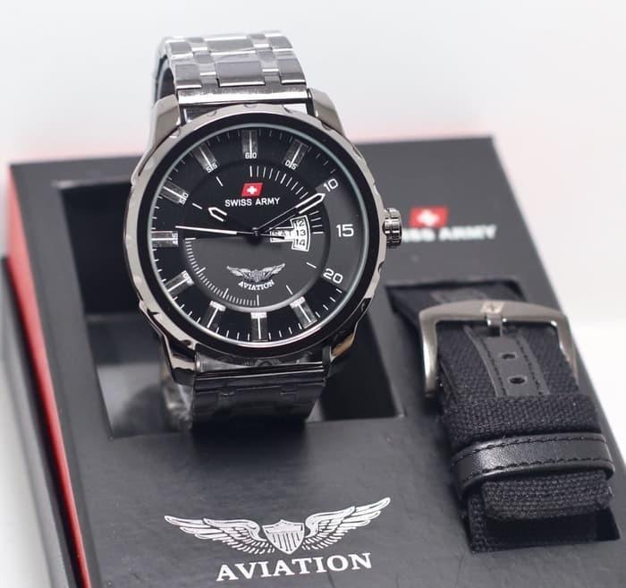 BISA BAYAR DI TEMPAT (COD) Jam Tangan Pria SWISS ARMY TaLi Rantai (Stainless Stell) FREE TALI CADANGAN, jam tangan model baru,jam tangan keren Limited edition (HARI & TANGGAL AKTIF)