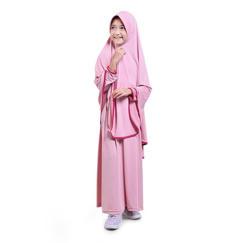 BAJUYULI - Baju Muslim Anak Perempuan Gamis Jersey Syar'i Panjang Murah - Salem