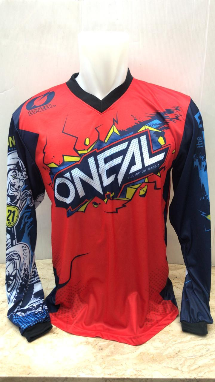 M861BLS Jersey Baju Balap Oneal Cross Drag Bike Merah Crank MX