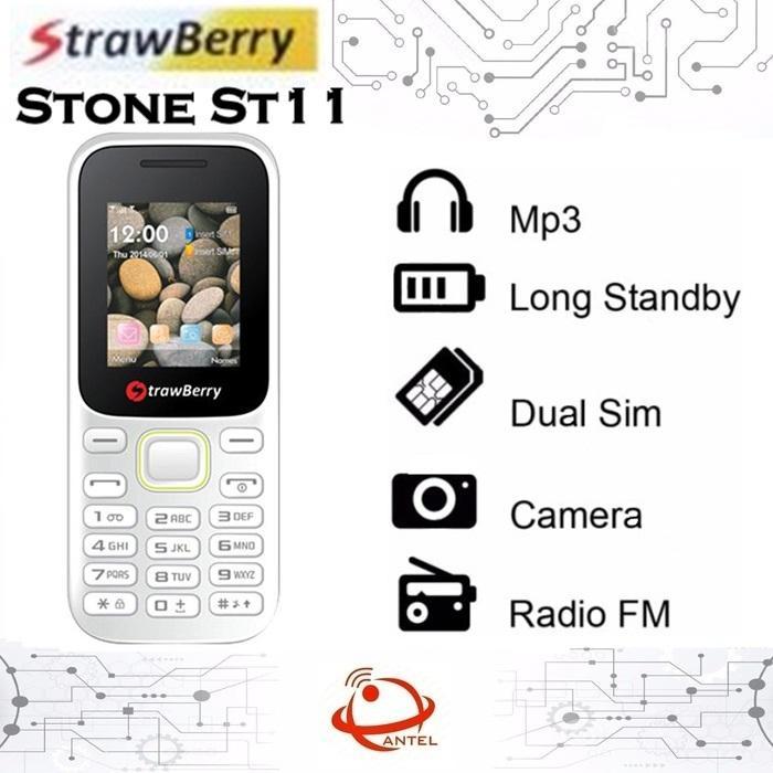 Strawberry ST11 Stone Candybar Handphone - Blue [Dual SIM]