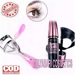 Paket Hemat Kecantikan Mata - Mascara Maybelline Hyper Curl Waterproof dan Penjepit Bulumata Eyelash Curler Color Random thumbnail