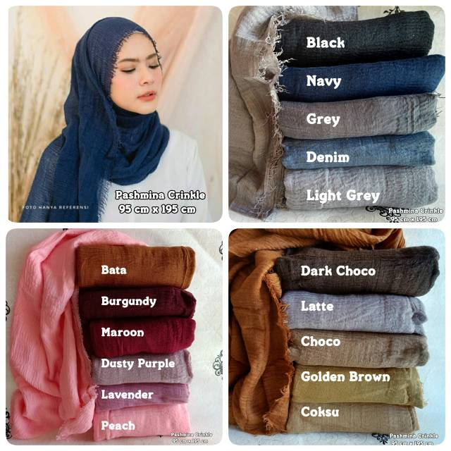 Hijab Pasmina Crinkle Warna Pashmina Kerudung Jilbab Ctb Lazada Indonesia