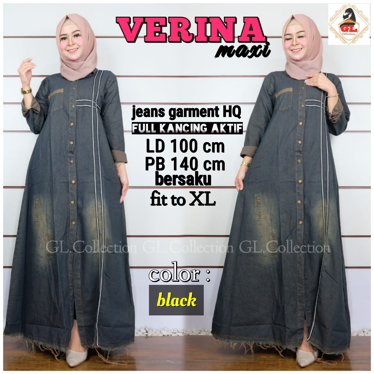 BUSANA GAMIS JEANS KASUAL - DRESS GAMIS JEANS VERINA FAB. JEANS GARMENT HQ  LD 12cm PB 12cm fit to XL