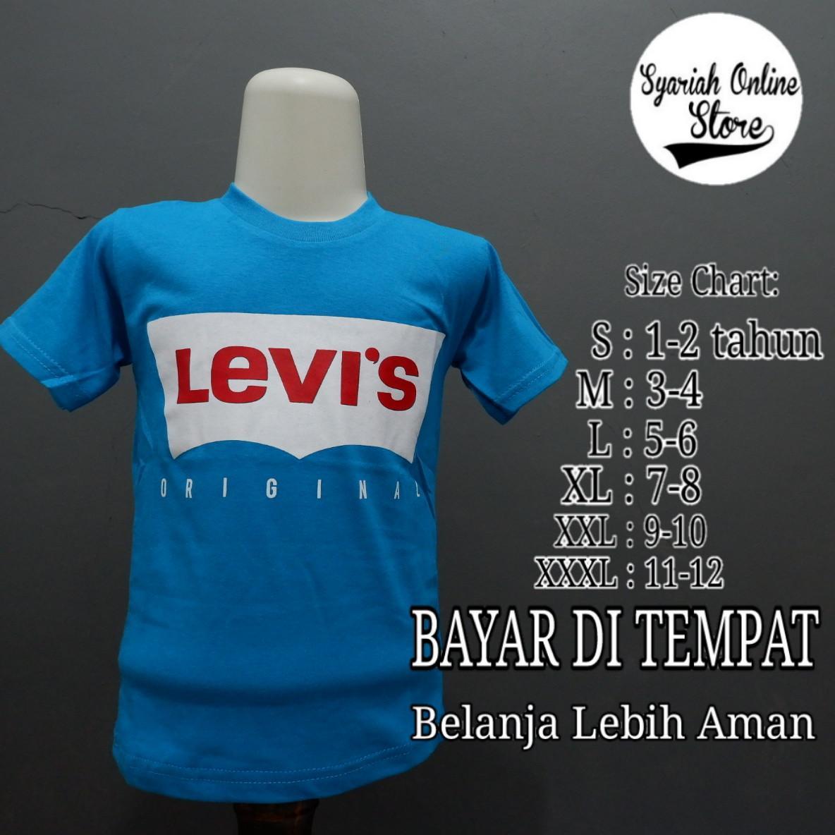 Kaos/baju Anak Motif Distro Levis By Syariah Online Store.