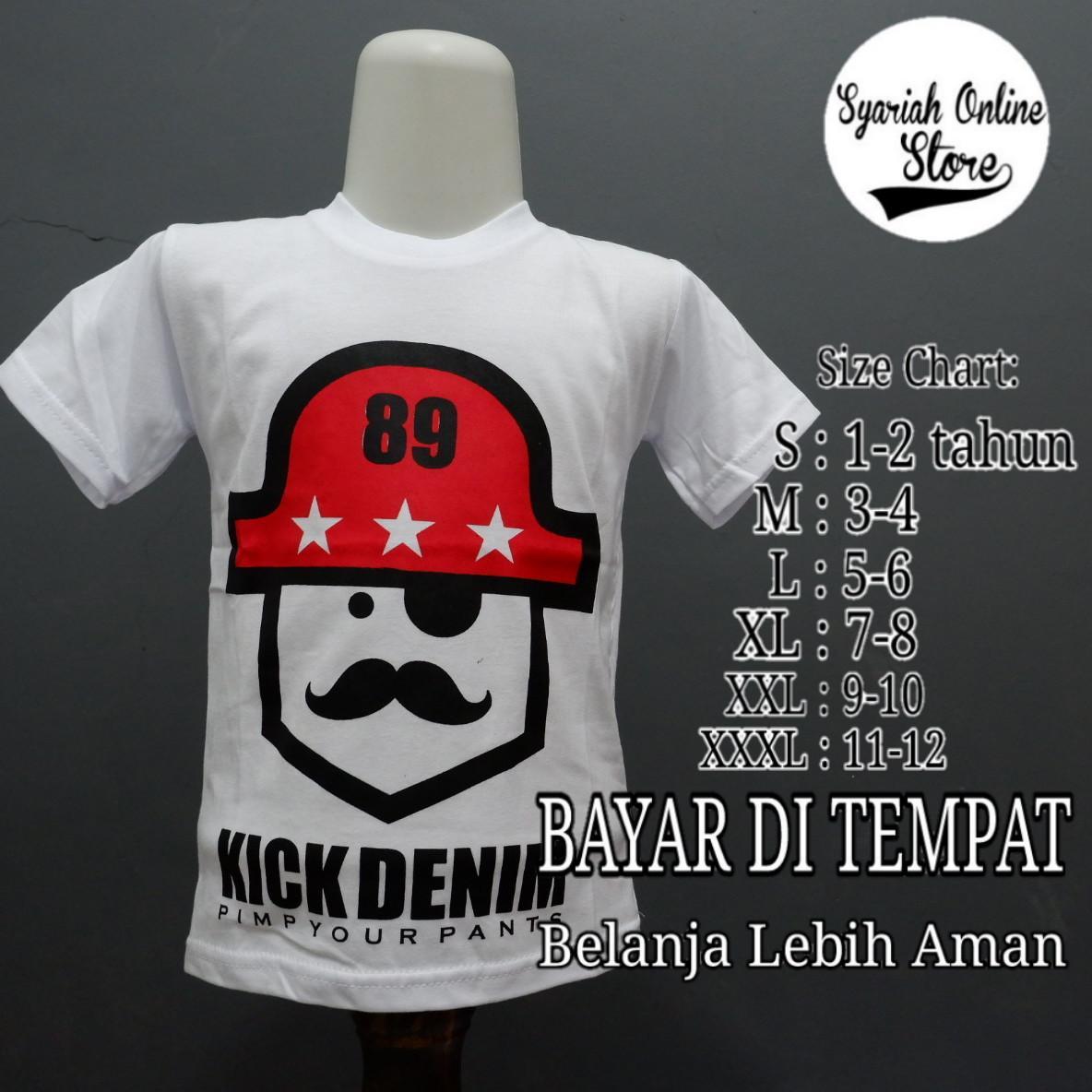 Kaos/baju Anak Motif Distro Kick Denim By Syariah Online Store.