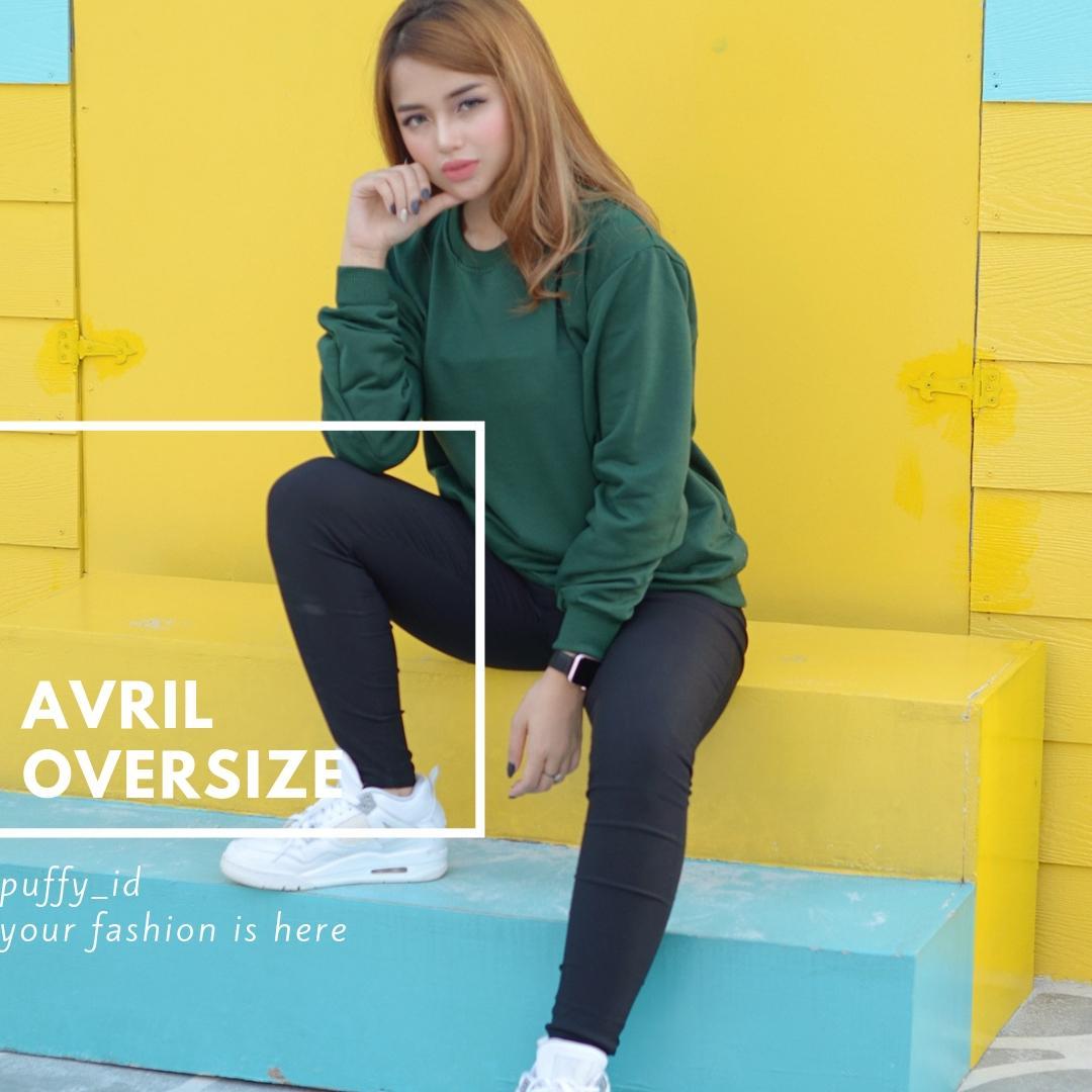 Sweater polos wanita Crewneck Avril Oversize korean style
