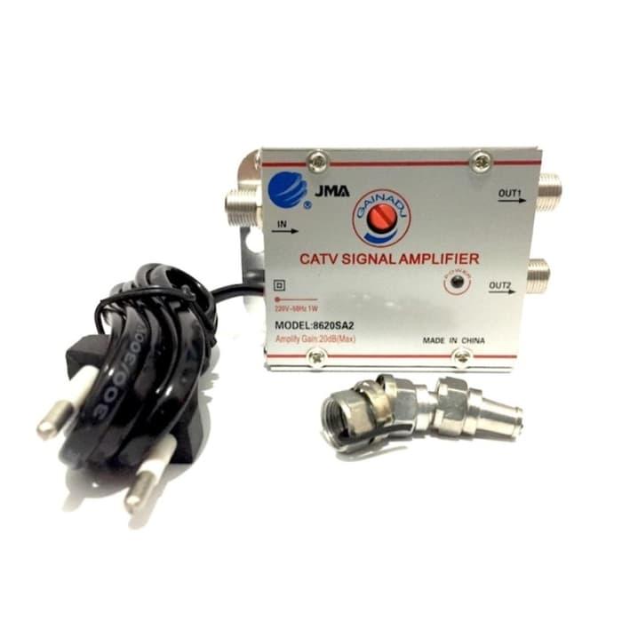 penguat penjernih sinyal frekwensi tv antena 2 way splitter catv signal amplifier booster indoor outdoor
