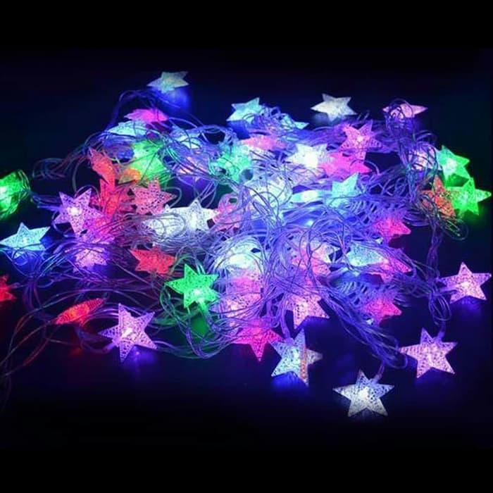 UPDATE TERBARU PANJANG 10 METER - Lampu Hias Led Lampu Dekorasi Lampu Kelap Kelip - Lampu Hias Warna warni - Led Lampu Hias Dekorasi Karakter Bintang & Bola anggur Kelap-Kelip