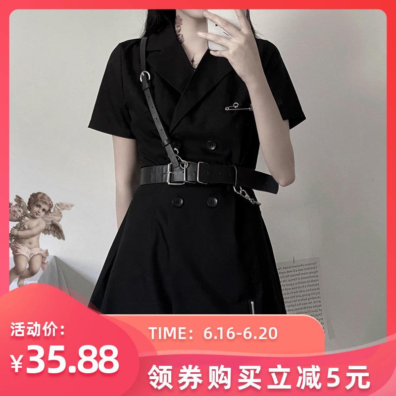 Phong Cách Retro Phong Cách Hồng Kông Chic2020 Đen Đôi Ngực Khoét Sâu Ngắn Tay Áo Váy Công Sở Đen Tối Sở Thiếu Nữ Ins Đầm