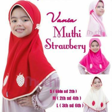 Jilbab Vania Muthi Strawberry Size S M L Anak 6 bulan - 6 tahun Hijab Bergo Kerudung Instan Murah