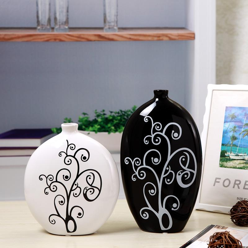 Jingdezhen Ceramic Crafts Home Decoration Simple Creative Flower Holder Living Room Partition Decoration BLACK&WHITE Silence Vase