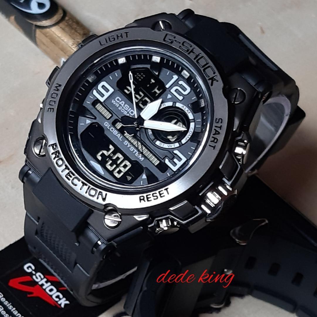 CASIO jam tangan pria fashion sport G SHOCK_G2018 BODY BESI dual time limited editions