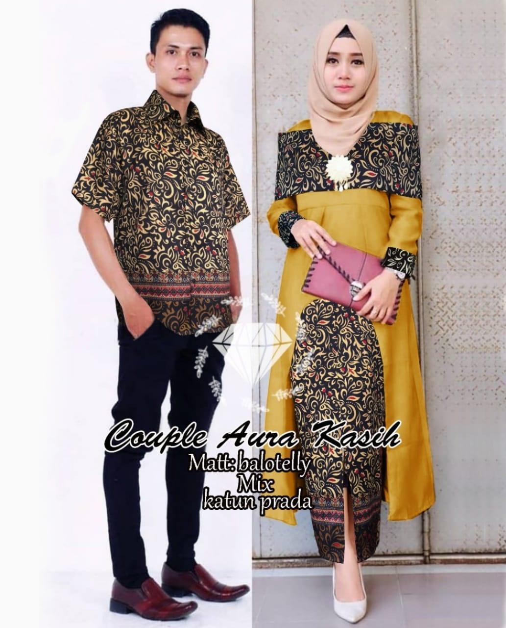 T-OS Couple AuraKasih Kemeja Pria Dan Setelan Wanita Tunik Rok Batik
