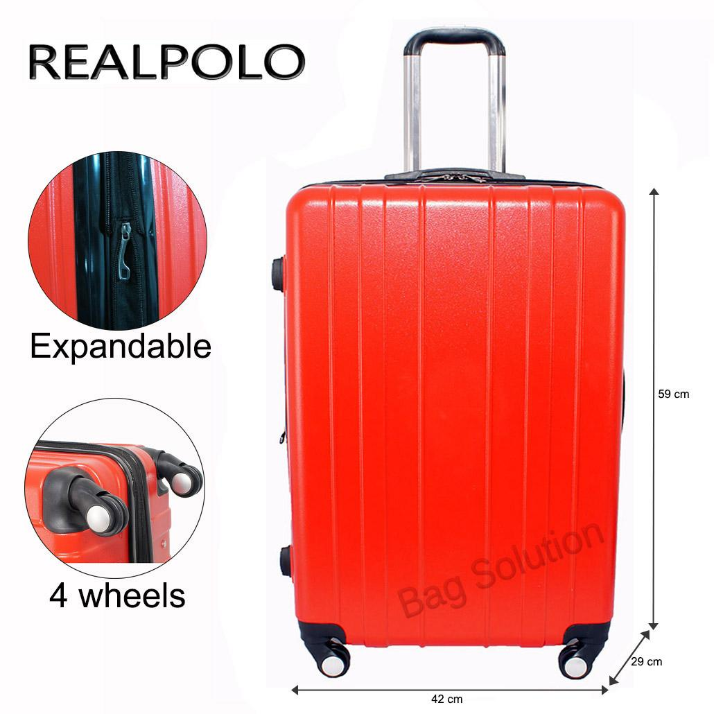 Real Polo Tas Koper Hardcase Fiber ABS Expandable - 4 Roda Putar - GGAF Size 24 Inch