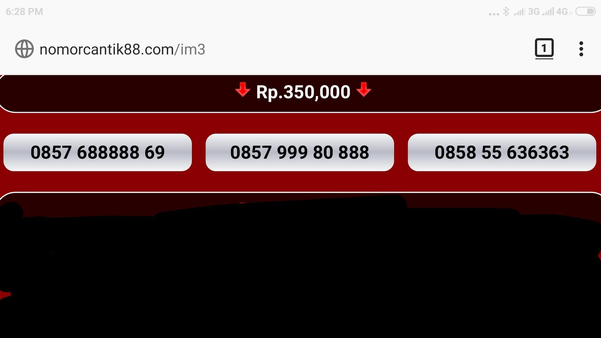 Nomor cantik im3 kartu perdana indosat nocan gsm 10 digit 3G 4G 0816 mentari prabayar super