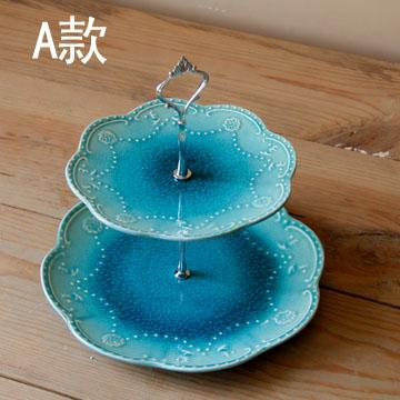 European Style Crackle Glaze Ceramic Double Layer Fruit Bowl cayi hyundai Living Room Teapoy Table Household Afternoon Tea Snack Plate