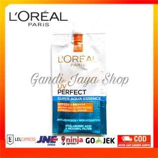 L Oreal Paris Sachet Travel Size UV Perfect Aqua Essence Sunscreen Skin care SPF50 PA++++ - 7ml Sunblock Waterproof Dengan Hasil Kulit Lembab Dan Segar thumbnail