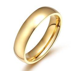 Toko 4Mm Berlapis Emas Tinggi Dipoles Klasik Halus Cincin Anillos Untuk Pria Dan Wanita Yang Bisa Kredit
