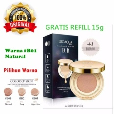 [01] Natural - Bioaqua Exquisite and Delicate BB Cream Air Cushion Pack Gold Case SPF 50++ Foundation Make Up Wajah + Free Refill