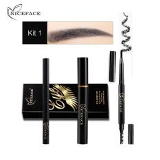1 Set Eye Makeup Kombinasi Eyeliner Maskara Alis Pensil Hitam Tahan Air-Intl