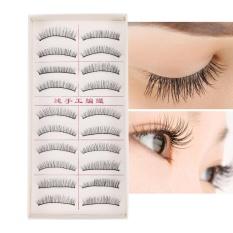 【Beli satu gratis satu!!】10 Pasang 3 D Palsu Mata Tebal Handmade Bulu Mata Ekstensi Riasan Alat