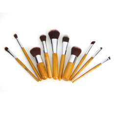 Harga 10 Pcs Bambu Handle Sikat Makeup Terbaik Kabuki Brush Murah Make Up Foundation Brush Set Intl