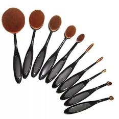 10 Pcs/set Sikat Gigi Bentuk Oval Makeup Brushes Set Beauty Foundation Curve Make Up Brush Powder Eyeshadow Eyeliner Alat Wajah -Intl