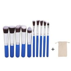 10 Pcs Makeup Brush Set Powder Wajah Mata Kuas Bibir Kosmetik Royal Blue Silver + Tas-Internasional