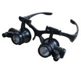 Jual Cepat 10X 15X 20X 25X Watch Repair Gigi Loupes Teropong Kacamata Gaya Kaca Pembesar Dengan 2 Lampu Led Kacamata Magnifier