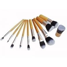 11 PCS Makeup Brush Set - BLUETTEK Professional Make up Cosmetic Eyeshadow Eyebrow Eyelash Eyeliner Lip Powder Blush Face Brush Set Kit + Free Pouch Bag (11Pcs Bamboo)