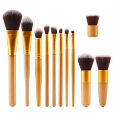 11 Pcs Makeup Brush Set Pensil Alis Mata Kosmetik Profesional Kuas Kit Gold