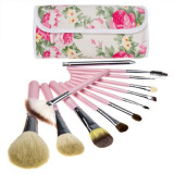 Harga 12 Pcs Makeup Brushes Kit Dengan Floral Print Bag Pink Oem